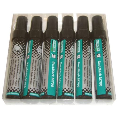 4-8 mm Keilspitze 6er Pack Permanent Marker M700 schwarz  NEU