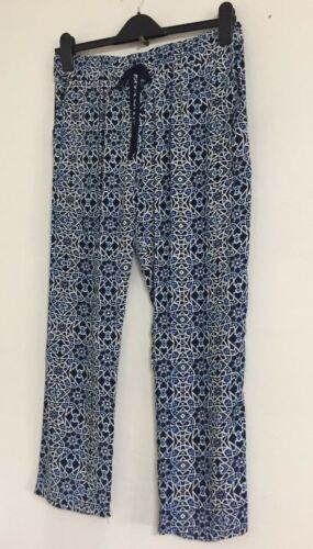 NEW Ex C/&A Blue Navy Geometric Print Joggers Trousers Summer Holiday Size 10-20