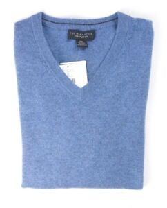 NEW-198-BLOOMINGDALE-039-S-DUSTY-SKY-BLUE-2-PLY-100-CASHMERE-V-NECK-SWEATER-2XL