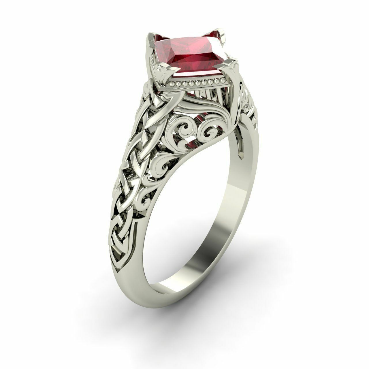 Certified 0.65 Cts Princess-Cut Natural Ruby Vintage Solitaire Engagement Ring