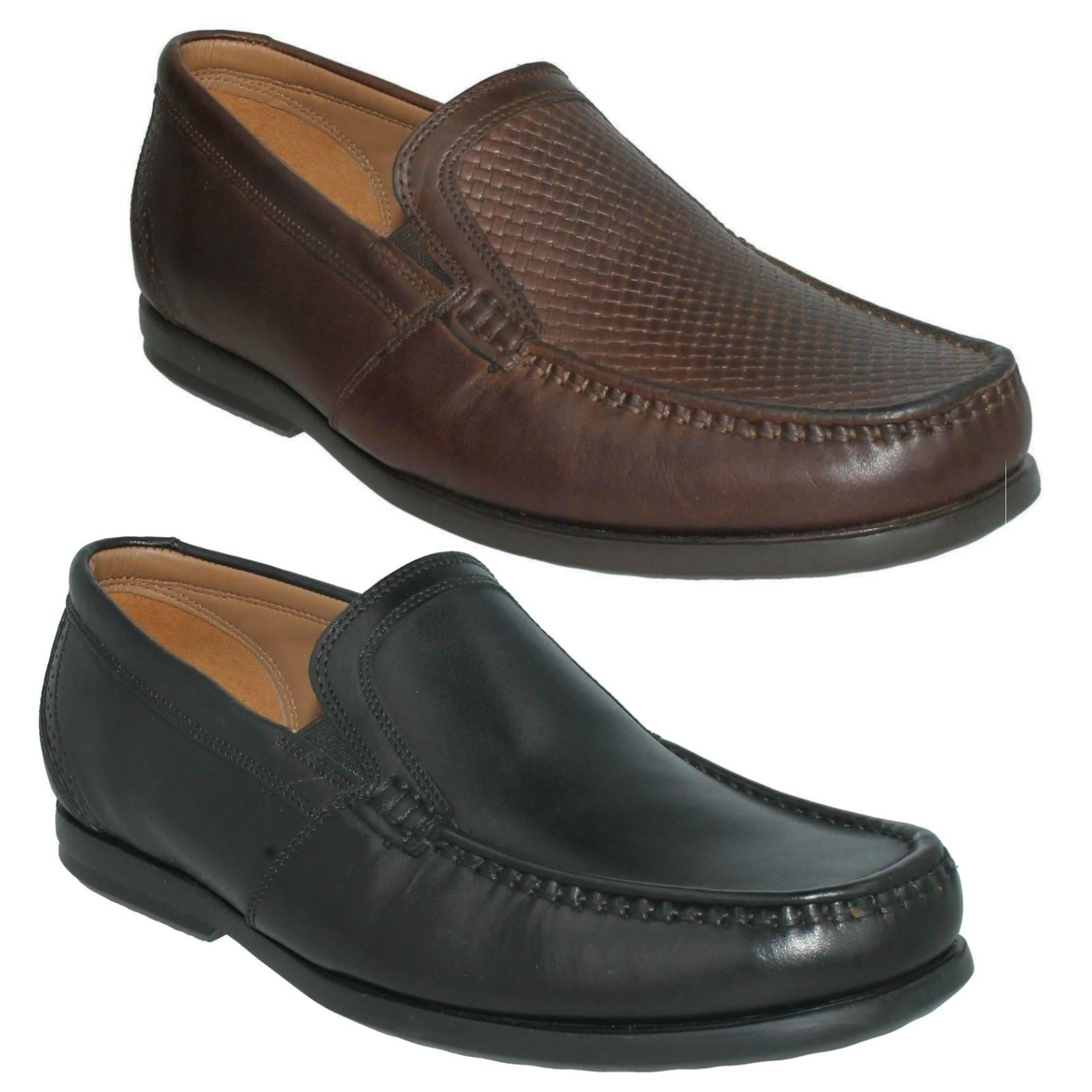 MENS CLARKS UNSTRUCTURED SLIP ON LEATHER WORK STYLISH SHOES SIZE UN GALA FREE