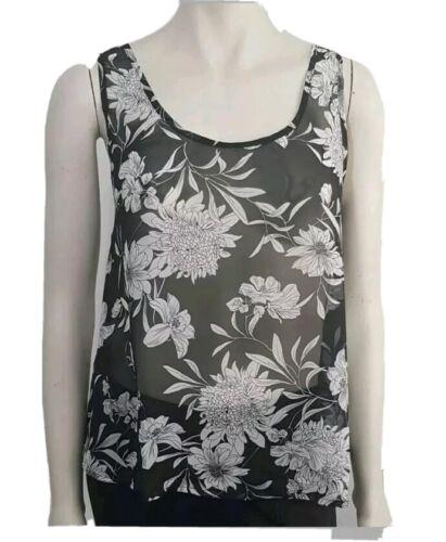 UK GLAMOROUS black floral print see through summer top size Large Sleeveless