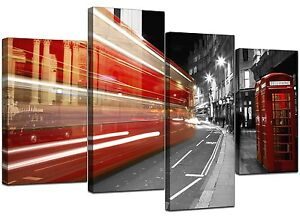 Cabina Telefonica : Large red london canvas wall art pictures bus phone box prints xl