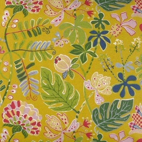 Tissu COUPON 50 x 75cm exotique LINUM paradise fleurs et feuilles jaune rose