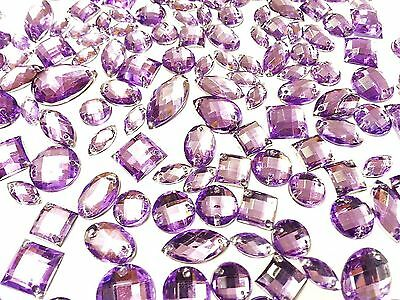 80 Faceted Acrylic Sew On, Stitch On, Stick on DIAMANTE Crystal Rhinestone GEMS