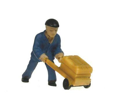 "Makette 2518-D: Figur ""Mann mit Sackkarre"" (H0) handbemalt!"