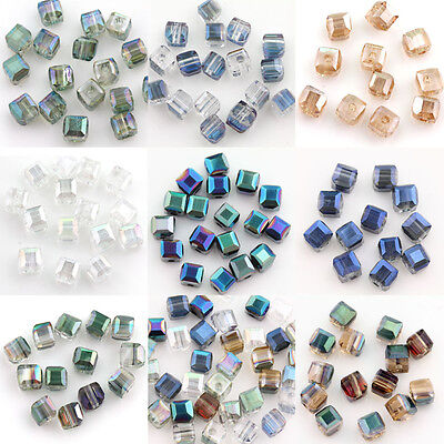 6x6x6mm 50pcs Cube Square Glass Crystal Rondelle Bead Spacer Loose Beads Finding