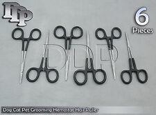 "6 Dog Cat Pet Grooming Hemostat Hair Puller 5"" Black Dep Handle Straight"