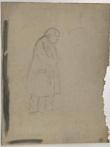DESSIN-ORIGINAL-LOUIS-MAURICE-BOUTET-DE-MONVEL-1850-1913-Homme-au-manteau-BM12