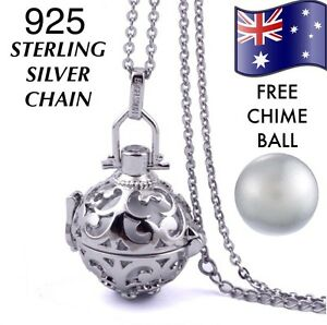 Angel caller harmony chime ball pendant necklace 925 sterling silver image is loading angel caller harmony chime ball pendant necklace 925 mozeypictures Choice Image
