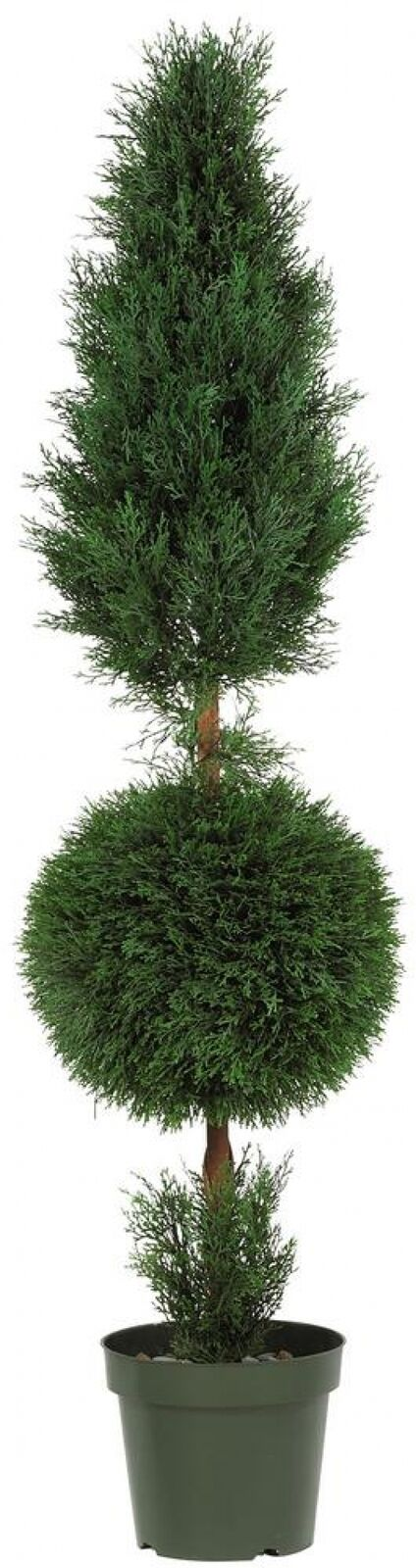 Artificial Plant 5 ft. Cypress Ball and Cone Silk Tree with Plastic Planter