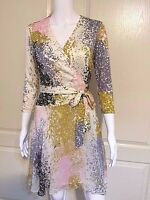 DIANE VON FURSTENBERG DVF NEW IRINA COMBO WRAP Silk DRESS Stella Fresco Rock NWT