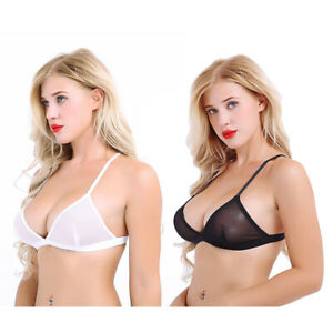 Women Sheer Mesh Embroidery Lace See Through Triangle Bralette Wire-Free Bra Top