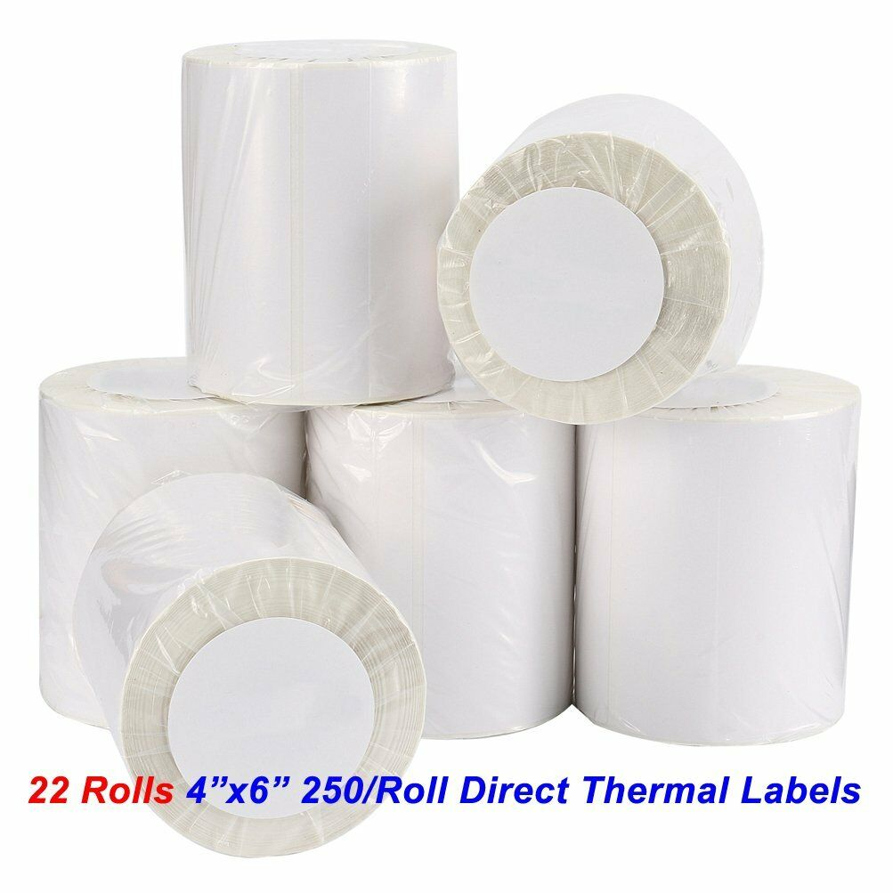 22 Rolls 250 Roll 4x6 Direct Thermal Labels For Zebra 2844 Eltron Zp450