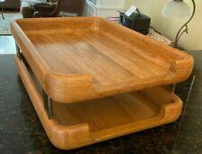 Vintage Eldon Woodline 6500 Solid Wood Two Tier Letter Tray Desk Organizer