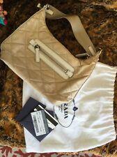 PRADA Light Brown Quilted Nylon Zaino Vela Sport Small Hand Bag Purse Satchel