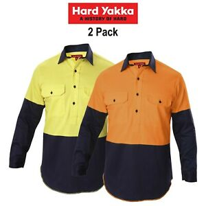 Mens-Hard-Yakka-Shirt-Hi-Vis-2-Pack-Gusset-Long-Sleeve-Work-Safety-Cotton-Y07984