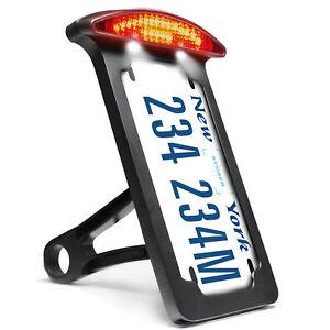 Black-Number-License-Plate-Bracket-Holder-Tail-LED-Light-Harley-Davidson-Chopper