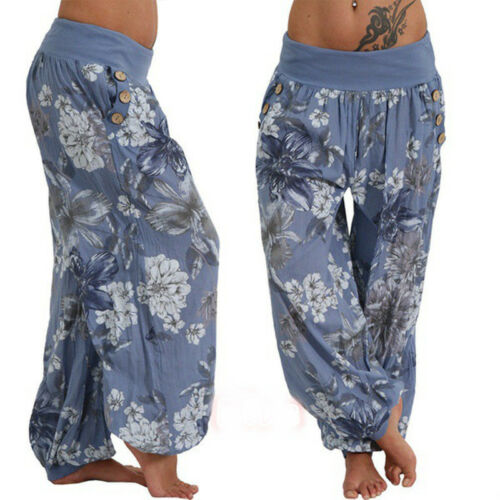 Women/'s Summer Boho Aladdin Floral Baggy Yoga Harem Pants Loose Casual Trousers