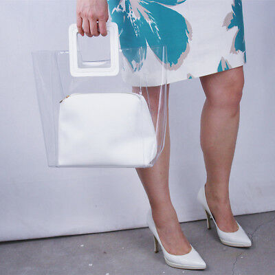 Clear vinyle plastique transparent sac cabas poignées Extra Large Sac a main