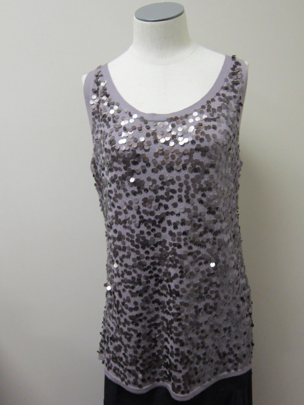 Eileen Fisher Sequined Fine Merino Round Neck Shell Tank Icy lila NWT  178
