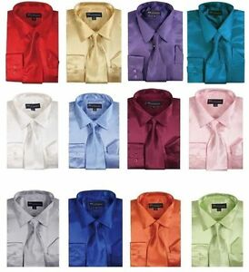 Men-039-s-Shiny-Satin-Polyester-Formal-Dress-Shirt-w-Tie-and-Hanky-Set-08-Solid