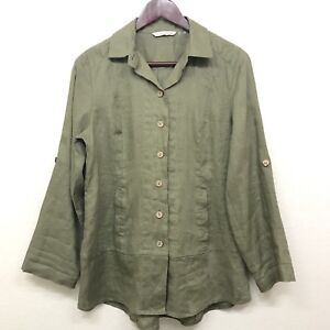 Soft-Surroundings-Women-s-Linen-Button-Down-Tunic-Top-3-4-Roll-Sleeve-Petite-XS