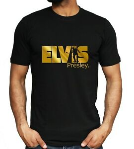 Elvis-Presley-T-shirt-Gold-Print-King-of-Rock-Music-Fashion-Unisex-Tee-S-3XL