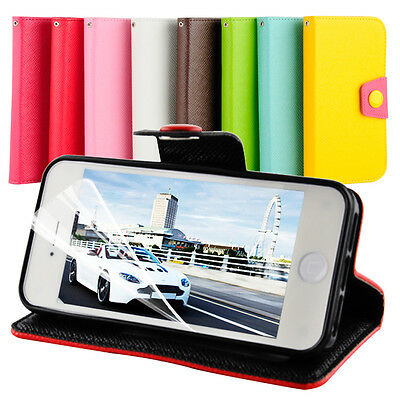 Accessories Apple iPhone 5 5S 4 4S Stand Wallet PU Leather Case Cover Film UK