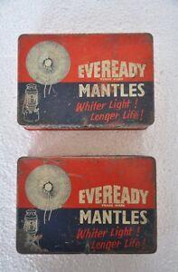 2PC-Vintage-Eveready-Mantos-Anuncio-Litho-Estano-Caja-Coleccionable