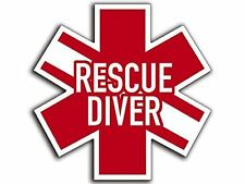 Star of Life Shaped RESCUE DIVER Sticker (scuba dive diving decal)