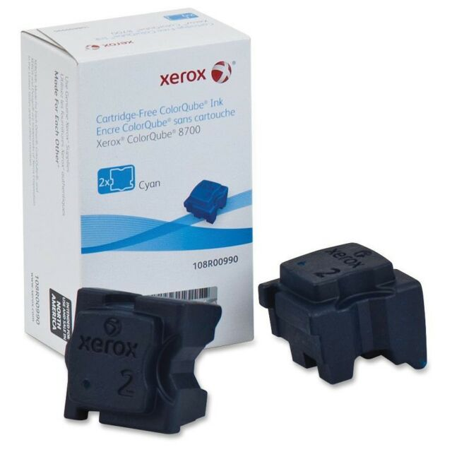 Genuine Xerox 108R00990 Cyan Solid Ink 2 Sticks 4200 Page for ColorQube 8700 for sale online