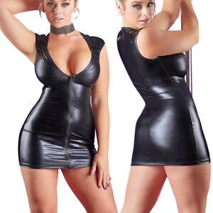 Damen-Wetlook-Zip-Mini-Kleid-S-M-L-XL-Glanz-Partykleid-Gogo-Abendkleid-Minikleid