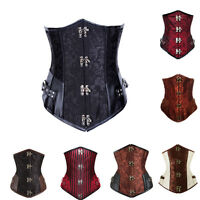 Gothic Punk Steel Boned Steampunk Underbust Corset Basque Waist Training
