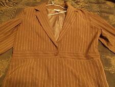 Women Brown Jacket with White Stripes Size 1X