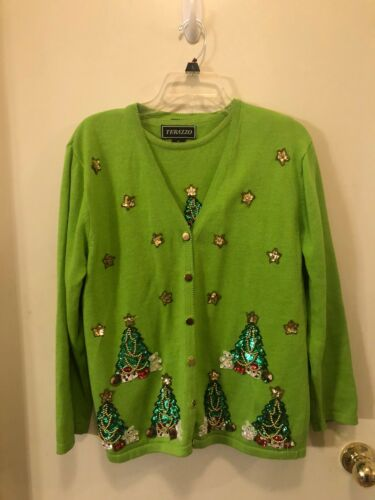 VTG TERAZZO Lime Green Christmas Sweater Ugly w/Sh