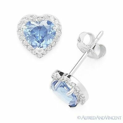 Heart-Shape Cubic Zirconia CZ Crystal Halo Stud Earrings in .925 Sterling Silver
