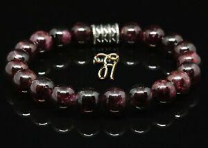 Granat-Armband-Bracelet-Perlenarmband-rot-8mm