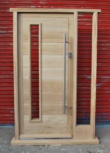 Contemporary Solid Oak Front Door With One Sidelight Made To Measure Bespoke Ebay