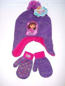 3c54fad8565 DORA EXPLORER TODDLER GIRL WINTER BEANIE HAT AND MITTEN SET (purple ...