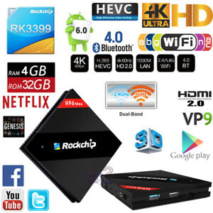 Details about H96 Max RK3399 4G 32G Cortex A72 A53 Android Smart TV Box  WiFi Media Streamer PC
