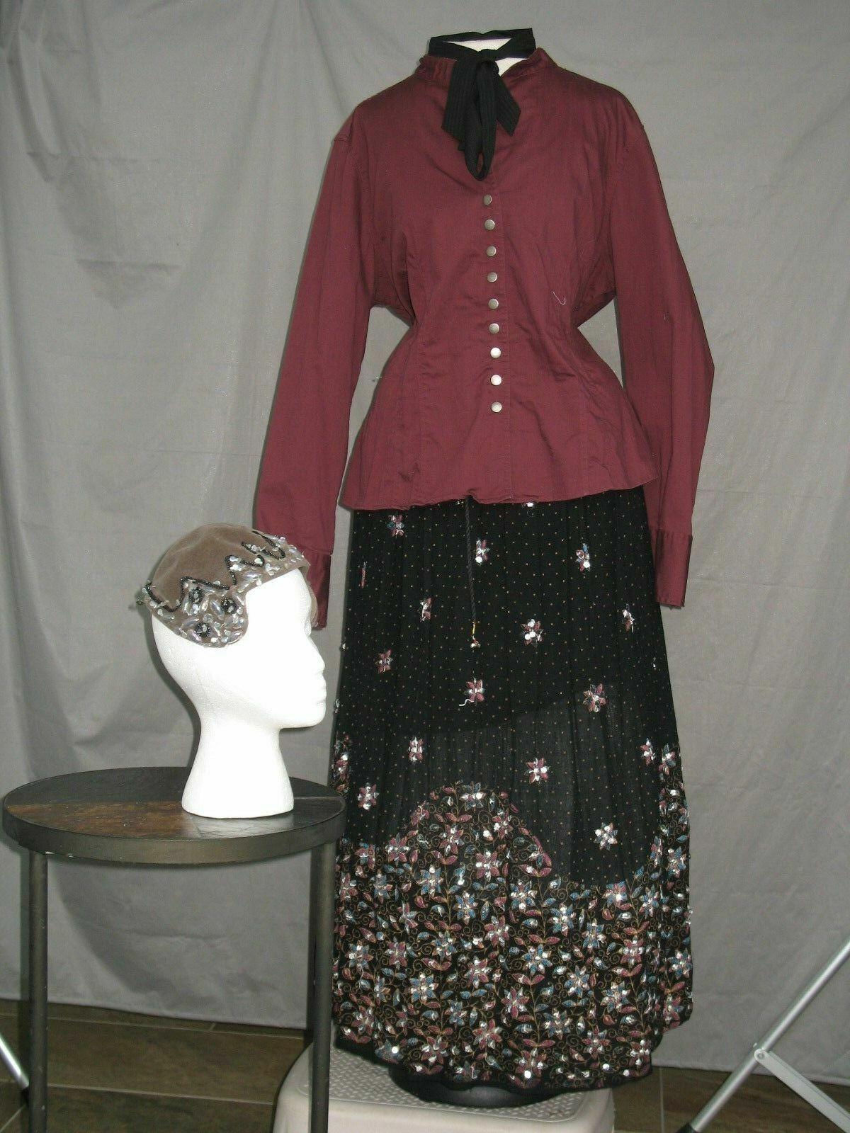 Victorian Dress Women's Edwardian Costume Civil War Reenactment Outfit & Hat