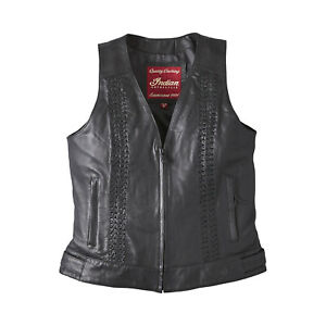 Indian Motorcycle Women's Leather Charlotte Vest, Black