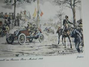 Mapa de Felicitación Automóvil Renault Grabado París-madrid 1903 Firmada Heinz