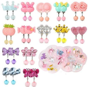 joyas de cristal pendientes Princesa Niñas 2 Pengxiaomei 14 Pares de Aretes de clip