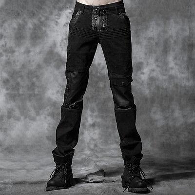 New PUNK RAVE Gothic Heavy Metal Black Mens Pants K-178 ALL STOCK IN AUSTRALIA
