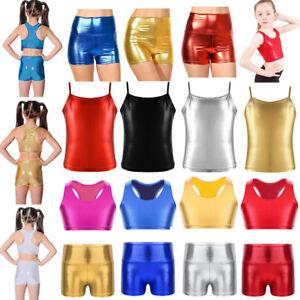 Dance-Crop-Top-Shorts-Girls-Kid-Metallic-Gym-Ballet-Sport-Leotard-Tops-Dancewear