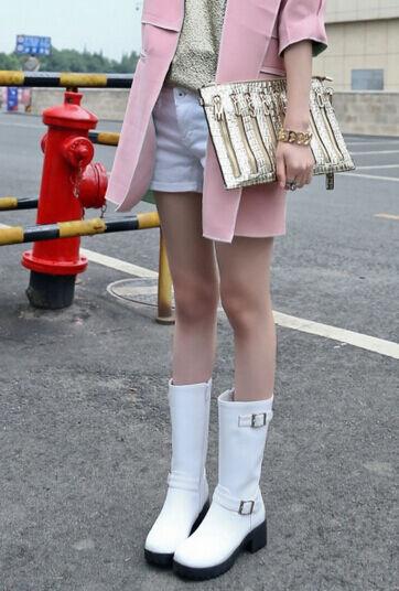 Stivaletti stivali scarpe anfibi tacco 5 simil pelle comodi comodi pelle caldi 37 bianco e44481