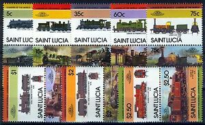 St. Lucia 1985, Locomotives 3rd set, 8 pairs 16v, Sc 711-718 MNH