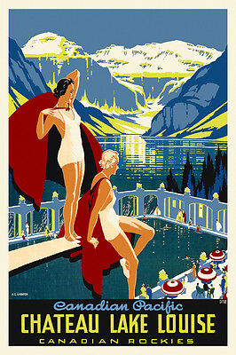 YW0 CHATEAU LAKE LOUISE vintage travel ad poster A LEIGHTON Canada 1938 24X36